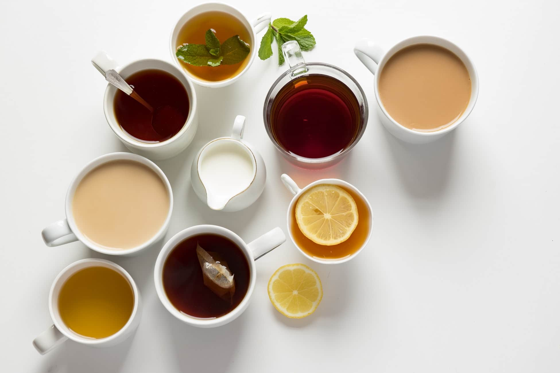 assortment of tea and coffee on a table